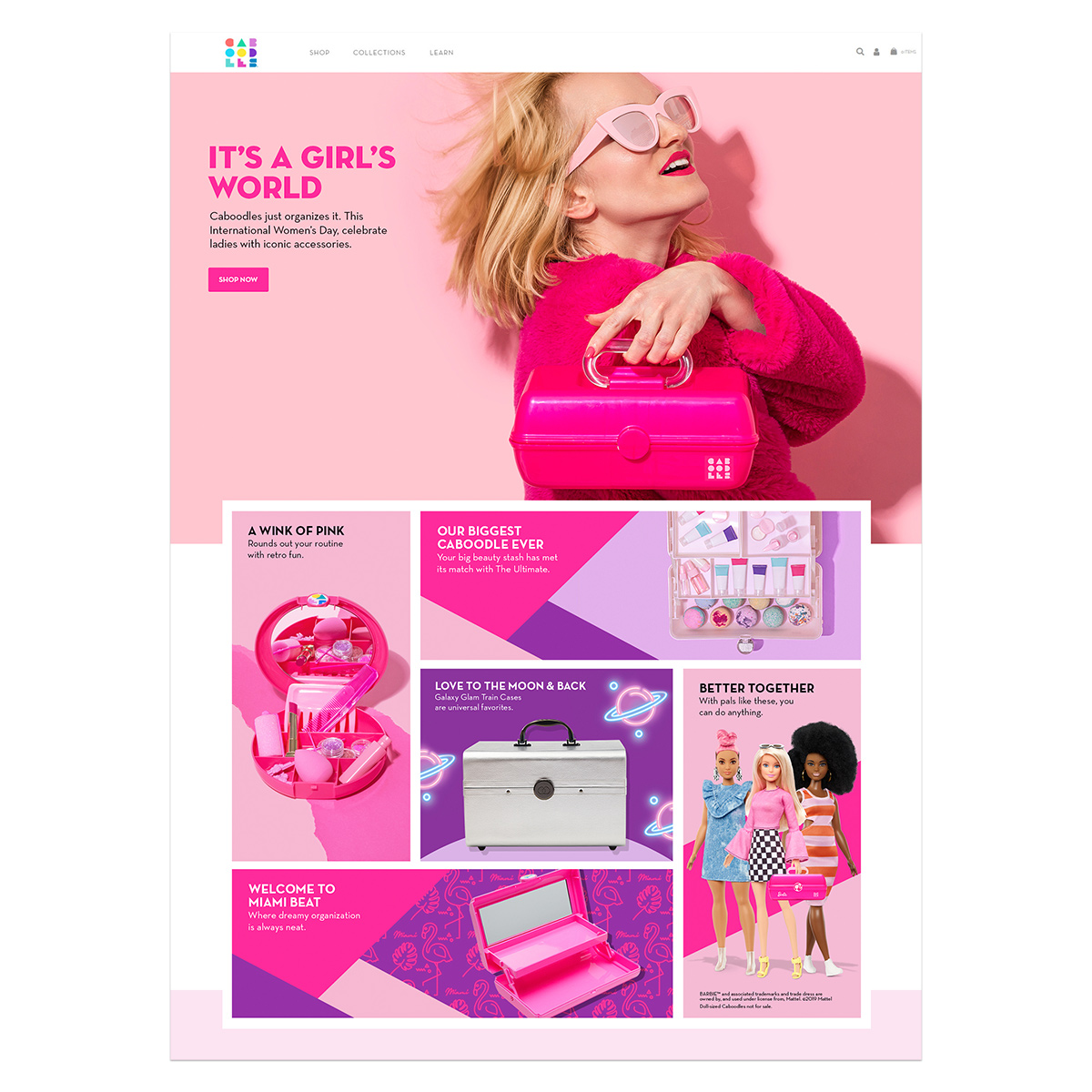 caboodles homepage design 2