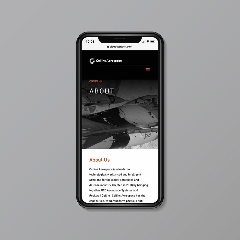 collins aerospace mobile website about a