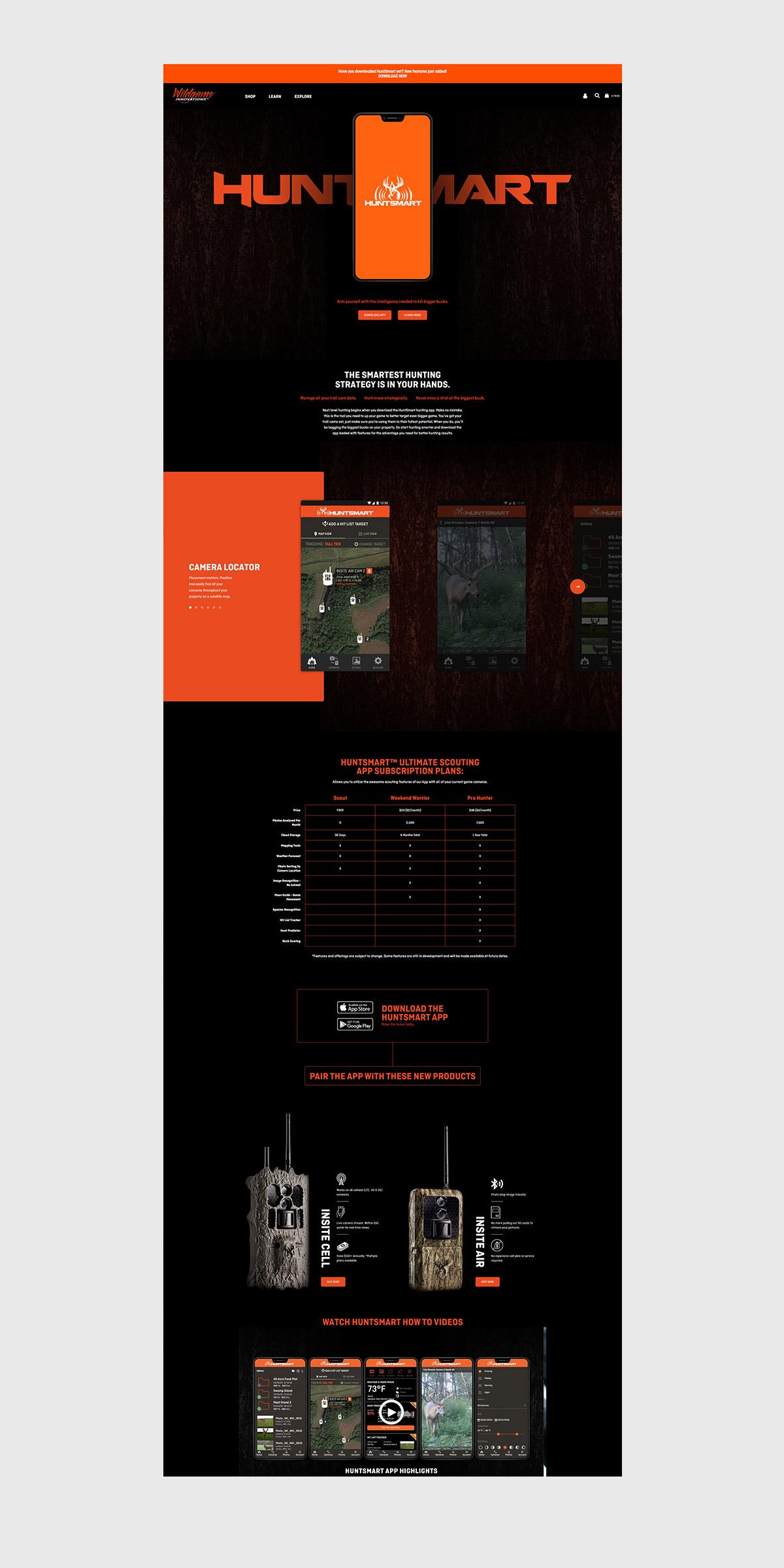 wildgame huntsmart website design