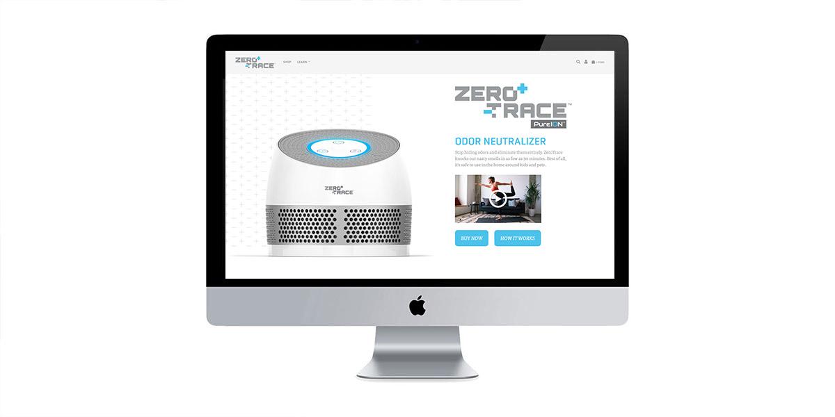 zero trace homepage website design
