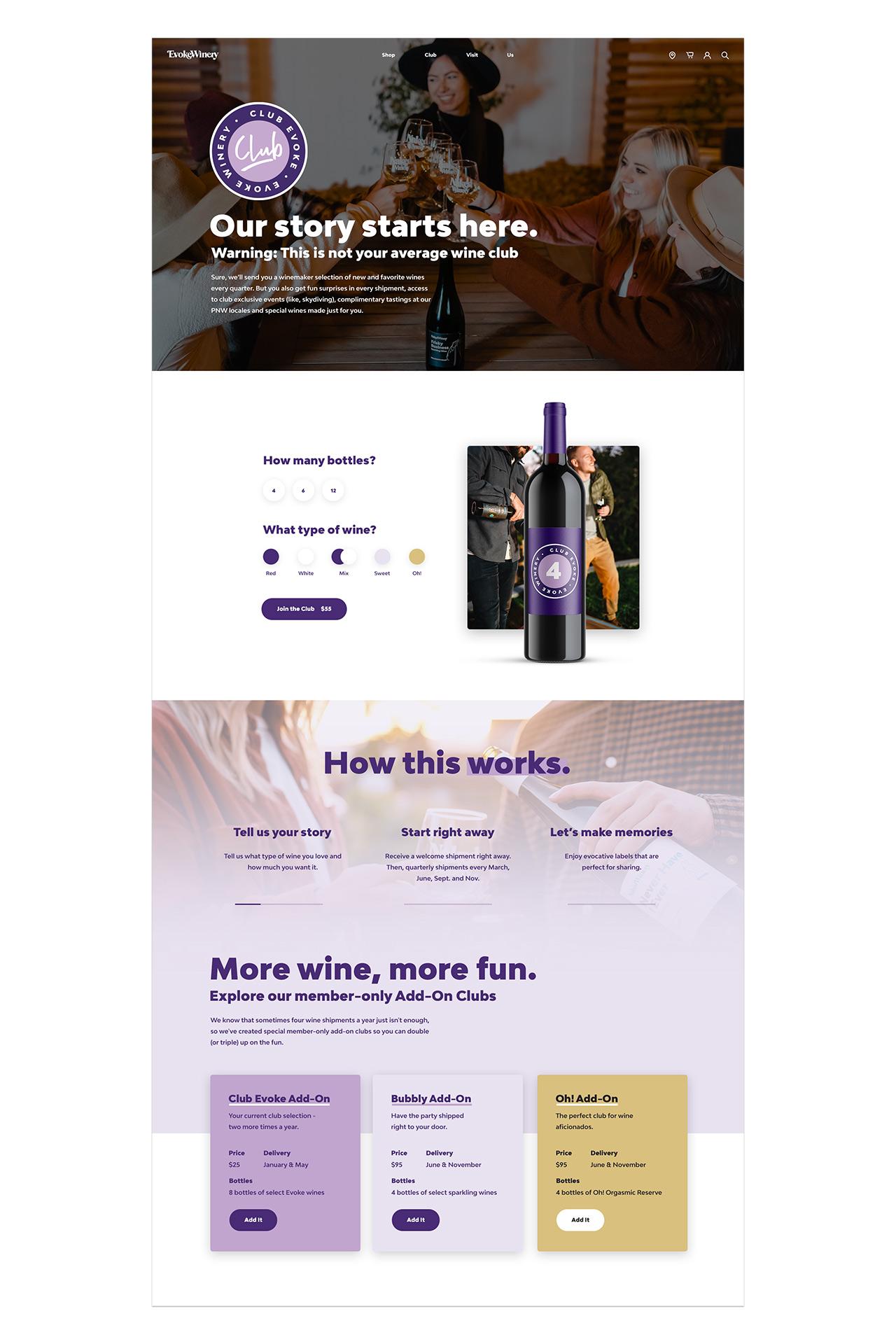 evoke winery club page