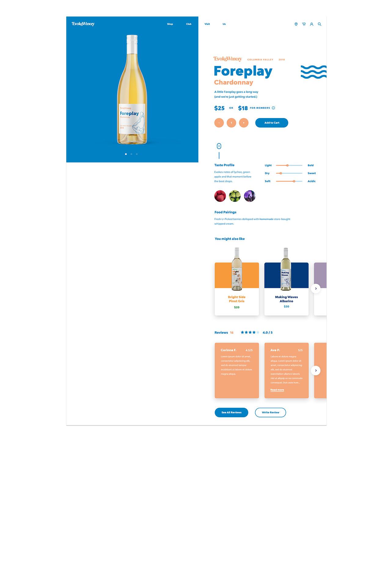 evoke winery website product detail